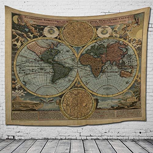 nobranded Vintage World Map Tapicería Tapiz América África Japón Mapa Wall Hanging Decoración para Dormitorio Salón Dormitorio