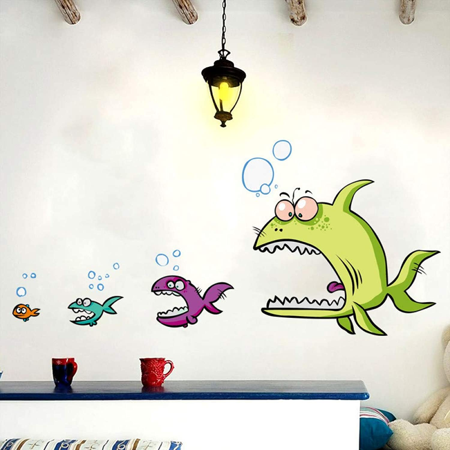 QIANMAO Funny Fish Eat Fish 3D Wall Stickers Home Decor for Kitchen Wall Kids Room PVC Wall Decals Adhesive Dinner Decoration 47  100Cm