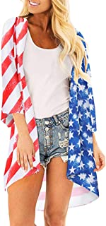 Summer Tops for Women 2019 Prime Tronet Women's American Flag Print Kimono Sheer Loose Long Blouse Cardigan