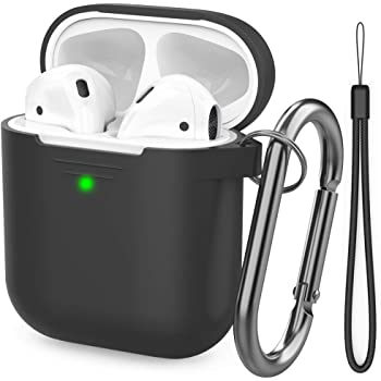 AhaStyle AirPods Case Cover [Hand Strap Included] Silicone Protective Cover Skin Compatible with AirPods 2 & 1(Black)