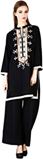 MEVE Readymade Embroidered Black Kurta and Palazzo Set for Women