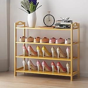 4 Tier Bamboo Shoe Rack,Shoe Organizer Free Standing Entryway Shoe Tower Shelf,Multi-function Storage Organizer Boots Storage Shelf Home Furniture Modern,Bamboo