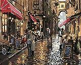 YUHHGFK DIY Pintura por Números Vista de la Calle después de la Lluvia Pint por Número de Kits con Pinceles y Pinturas para Adultos, niños y Principiantes Decoraciones Hogar - 40 X 50 cm (Sin Marco)
