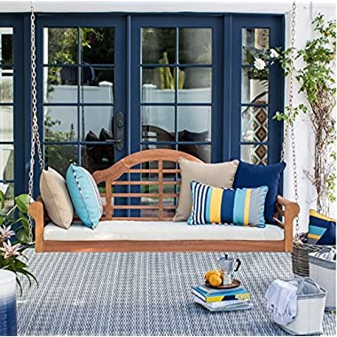 5 ft.Classic Eucalyptus Wood Outdoor Porch Swing with Cushion in Natural Finish (Included Cushion, Porch Swing Cushion, 4-foot Hanging Chains) 60L x 21W x 22H in.