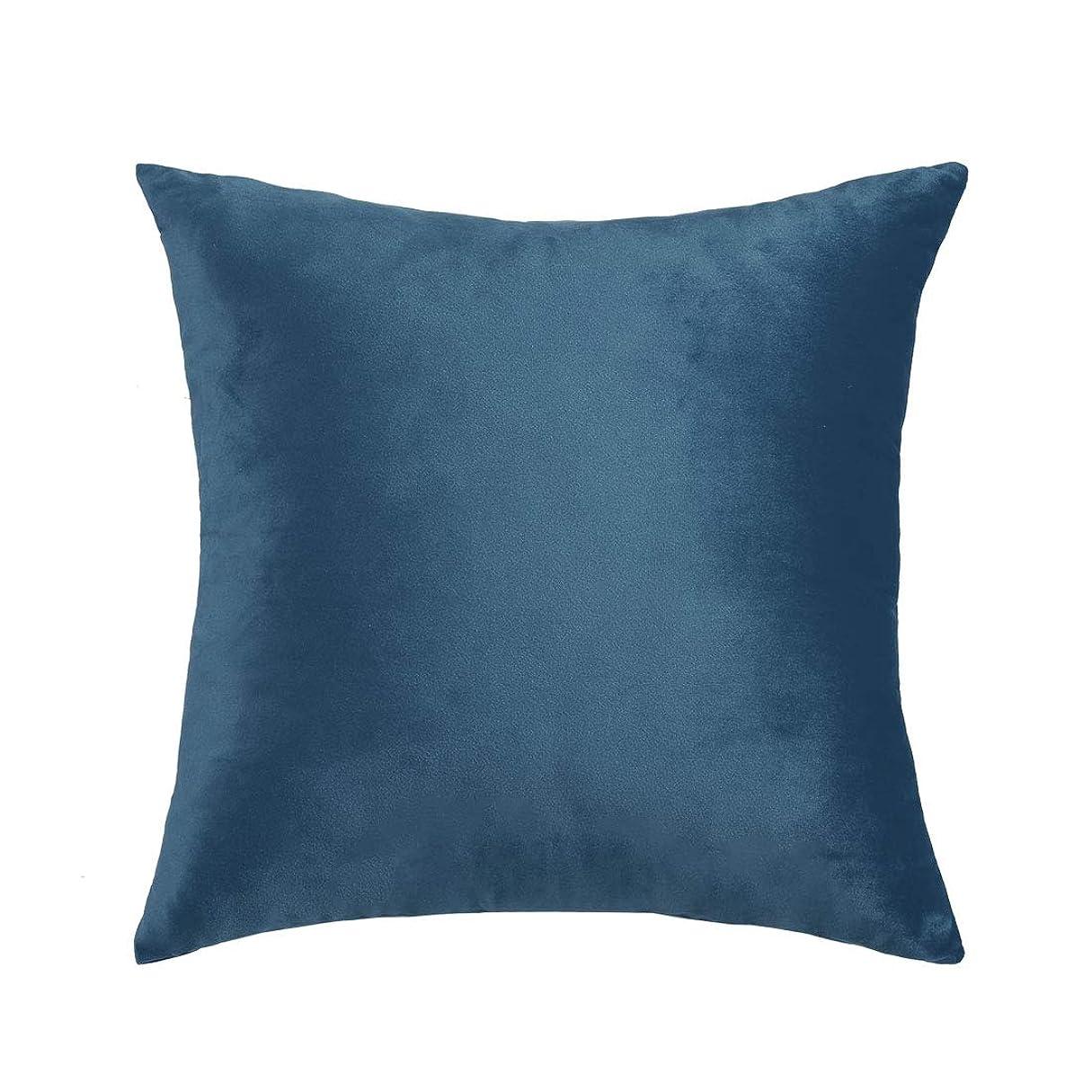 怒って儀式レベルuxcell ベルベット枕カバー?45 cmx45 cm?装飾的なスロークッションカバーラグジュアリー?ユーロスクエア枕?ソファソファベッドチェア用 紺 1個