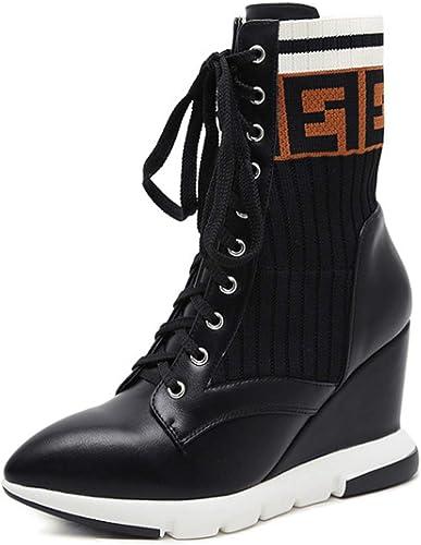HBDLH Chaussures pour Femmes Version Coréenne La Laine Les Bottines élastiques Pointu Pente Talon 9Cm Talon Haut Couleurs Cravate Martin Bottes