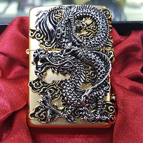 [Zippo] Flying Dragon Gold Lighter / Genuine Authentic / Original Packing (6 Flints set Free Gift)