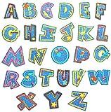 Gresunny 26 piezas parches bordados de letras tela de mezclilla de alfabeto ropa carta parche pegatinas apliques termoadhesivos para bricolaje costura bolsas ropa sombreros