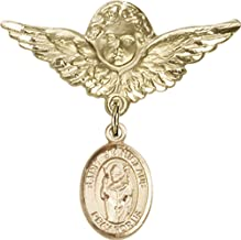 14kt Gold Baby Badge with St. Stanislaus Charm and Angel w/Wings Badge Pin St. Stanislaus is the Patron Saint of Broken Bones 1 1/8 X 1 1/8