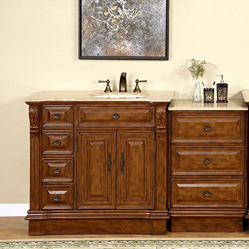 Find Discount Silkroad Exclusive HYP-0904-T-UIC-58-R Right Side Off Center Sink Bathroom Vanity with...