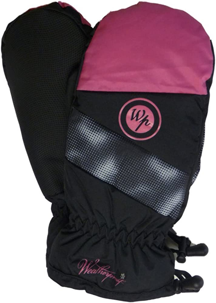Weatherproof Girls Pink & Black Snow & Ski Mittens with Fleece Lining