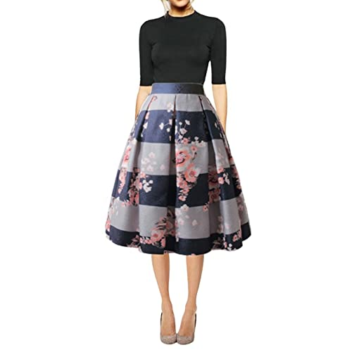 b06ecee494 Hanlolo Women's Floral Midi Skirts High Waisted A-Line Cocktail Party Prom  Skirt