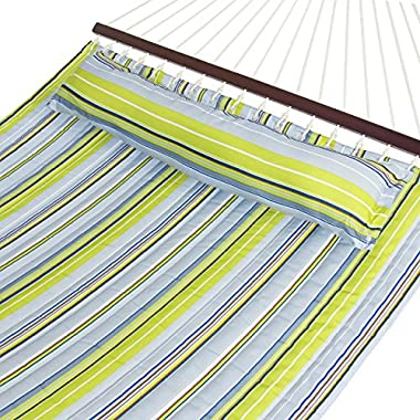 Best Choice Products Quilted Double Hammock w/Detachable Pillow, Spreader Bar - Blue and Green Stripe