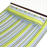 Best Choice Products Quilted Double Hammock w/Detachable Pillow, Spreader Bar - Blue/Green Stripe