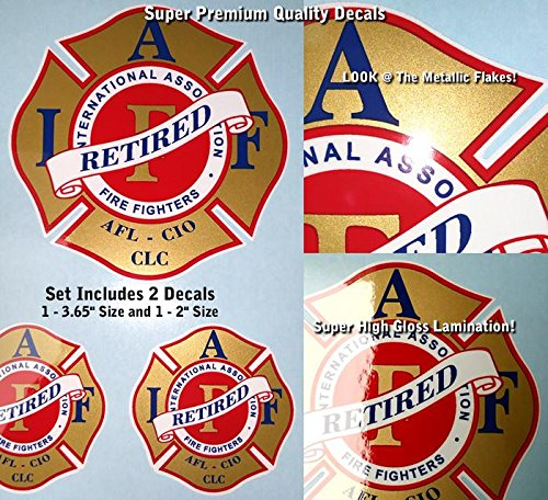 IAFF Retired Firefighter Decal Kit 2pcs Red & Gold Metallic Black High Gloss UV Lamination 0018
