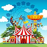 Laeacco Amusement Park Photography Background 8x8ft Children People Circus Carnival Fun Fun Park Theme Cartoon Backdrop Ride Tent Booth Show Performance Game Boy Girl Cage Lion Ferris Wheel
