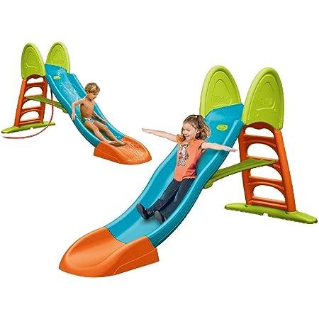FEBER - Super Mega Slide, Tobogán de colores luminosos rampa curva y conexión de agua, resistente y seguro, con pasamanos y escaleras antideslizantes, pequeños desde 3 años, FAMOSA (800009594)