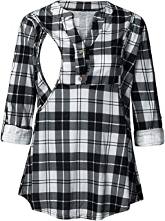 LONGDAY Womens Plaid Printed Tunic Shirts 3/4 Roll Sleeve Notch Neck Tunic Top, Maternity Shirt V Neck Casual Blouse