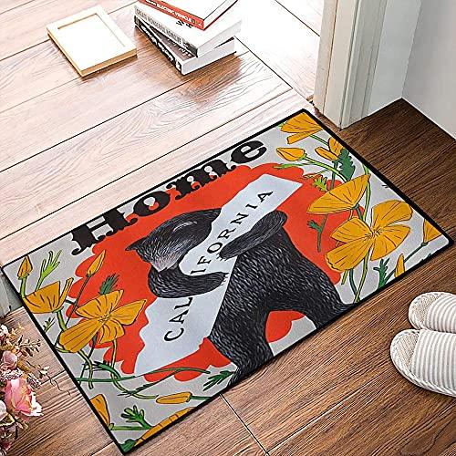 QDYLM Alfombra de baño de Microfibra esponjosa,Otoño Oso Animal Lindo California Hogar Vintage Oso Negro y Flor Rústico Estampado alfombras de Ducha de Suave Absorbente de Agua, 50x80 cm