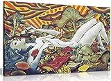 Psychedelic Trippy Art Mädchen Pilze LEINWAND KUNSTDRUCK