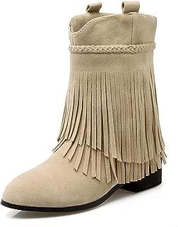 Starella Women's Western Cowboy Fringe Boots Low Block Heel Tassel Mid Calf Bootie