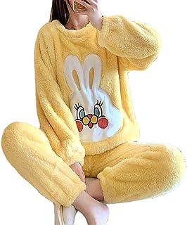 Pijamas Invierno para Mujer Manga Larga Cuello Redondo Felpa Traje Grueso Franela Hogar Señoras Amarillo Servicio Domicilio,Yellow-L