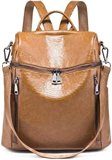 Asdfnfa Backpack, Women Geometric Backpack Laser School Backpack,Holographic Reflective Shoulder Bags Travel College Rucksack (Color : Brown)