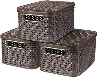 CURVER | Lot 3 boîtes de rangement STYLE S + couvercles, Marron foncé, Plastique