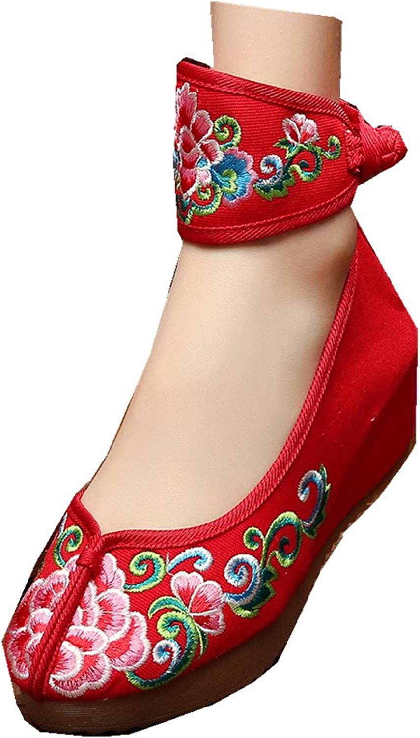 Tianrui Crown Womens Embroidery Casual Platform Wedges Canvas shoes