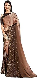 Designer Indian Brown onber Cocktail Party Swarovski Embellished Saree Blouse Woman Sari 6584
