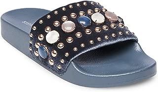 Womens Social Velvet Studded Slide Sandals