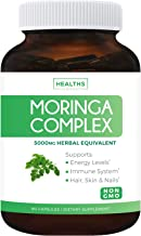 Moringa Capsules (Non-GMO) Each Capsule is The Herbal Equivalent of 5,000mg Moringa Oleifera - Powder Extract Complex from Seeds, Leaf & Fruit - Green Vegetarian Supplement 60 Count (No Oil or Tea)