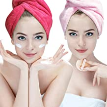 2 Pack Ultra Absorbent Luxury Microfiber Hair Towel Quick Dry Hair Turban Wrap with Button for All Hair Styles, Pink/Roseo