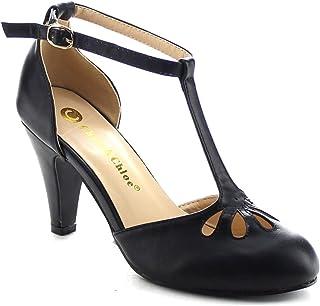 bdd2d0e9084b Chase   Chloe New Kimmy-36 Women s Teardrop Cut Out T-Strap Mid Heel