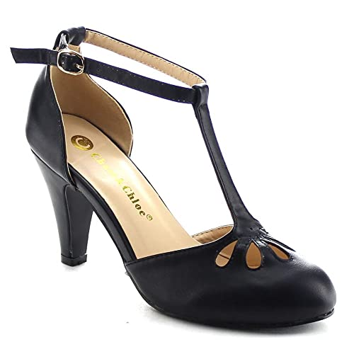 5a44af721 Chase   Chloe New Kimmy-36 Women s Teardrop Cut Out T-Strap Mid Heel