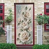 LHAOSIX 3D Pegatinas Decorativas de Puerta Rosa plantas flores pintura. 80x200cm Bricolaje Impermeable Autoadhesivo Extraíble Vinilo Sala de estar Dormitorio Puertas Interiores Etiqueta De La Puerta A
