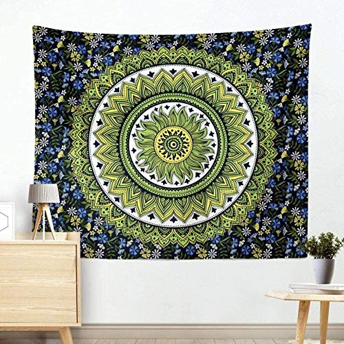 FANGNVREN Tapestry 3D Indian Mandala Pixel Boho Art Cloth Psychedelic Carpet Bedspread Decor Wall Hanging Upholstery Tapestries 200x150cm