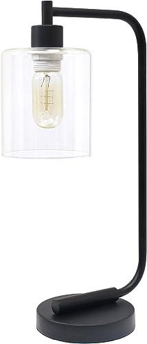 Simple Designs LD1036-BLK, Black Bronson Antique Style Industrial Iron Lantern Glass Shade Desk Lamp