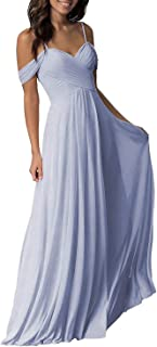 Jonlyc Women's A-Line Pleated Cold-Shoulder Chiffon Long Bridesmaid Dress