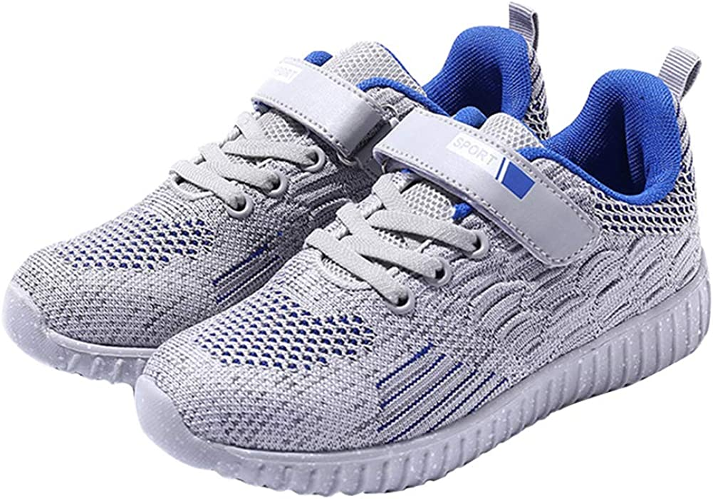 Z.SUO Boy's Lightweight Breathable Sneakers Strap Athletic Running Shoes (Toddler/Little Kid/Big Kid) (11 M US Little Kid, Blue Gray)