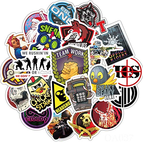 L&U Spiel CS-GO Laptop Aufkleber Cool - 110 Stück Vinyl-Abziehbilder Wasserflasche Telefon-Kasten Notebook Gitarre Skateboard Reise Teen Erwachsene