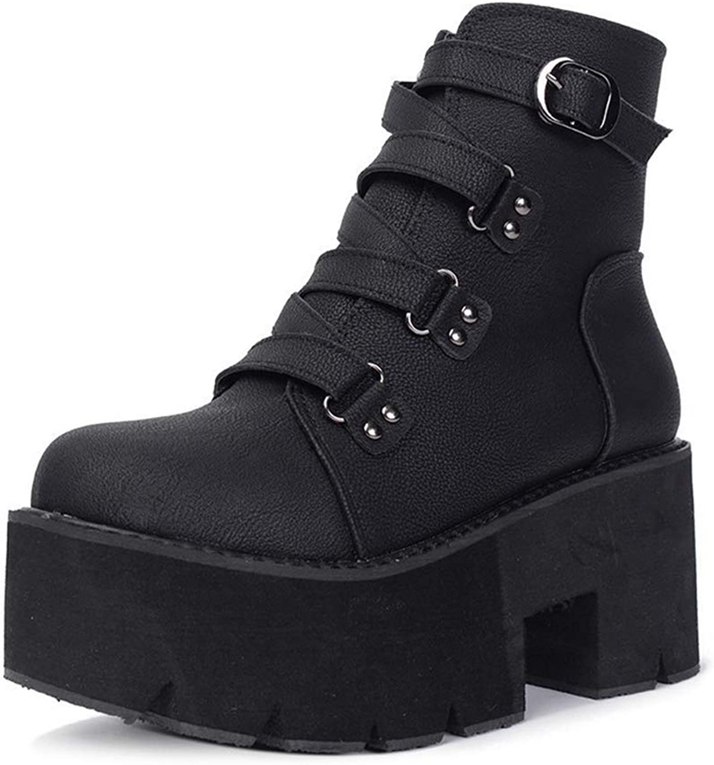SANOMY Wedge Heel Ankle Boots for Women Waterproof Platform Rubber Sole Punk shoes Buckle Strap Riding Booties