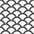 Tempaper Black and Cream Mosaic Scallop | Designer Removable Peel and Stick Wallpaper