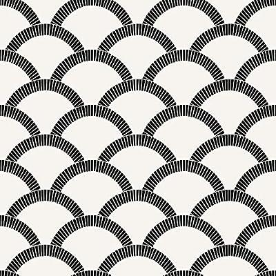 Tempaper Black and Cream Mosaic Scallop | Designer Removable Peel and Stick Wallpaper