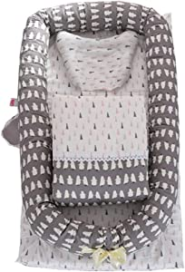 Baby portable baby bed Baby Snuggle Nest with pillow quilt Handle Transporter Sleeping Basket Bassinet For Bed Cartoon Bear Design Portable Cotton Crib Crib Color Gray Size 95 50 15cm