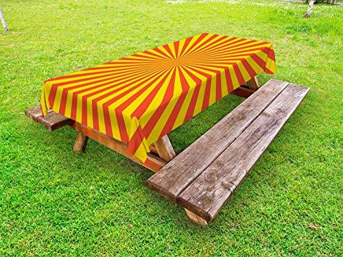 ABAKUHAUS Sunburst Tafelkleed voor Buitengebruik, Bicolour Warm Tone Zonnestralen, Decoratief Wasbaar Tafelkleed voor Picknicktafel, 58 x 104 cm, Gebrande Oranje en Mosterd