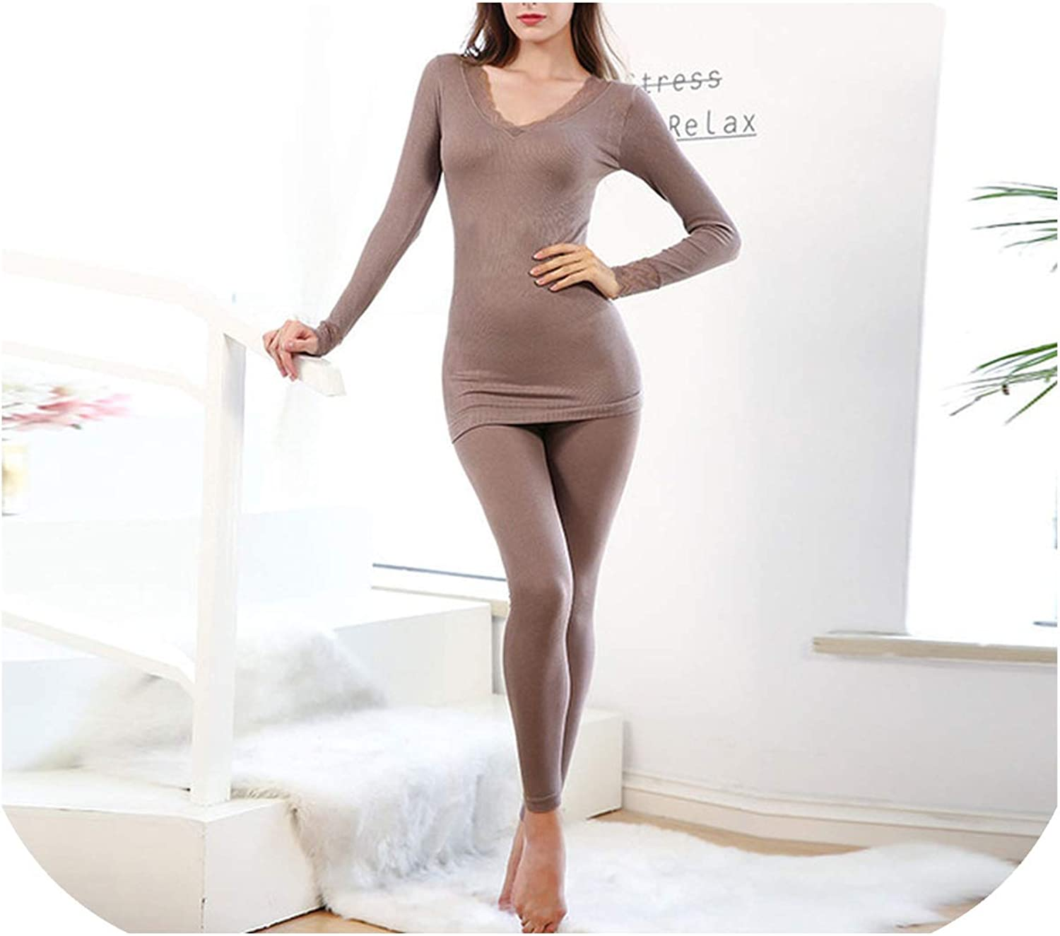 Lace Women's Thermal Underwear Set Beauty products L Women Seamless Bamboo Fiber 2021new shipping free