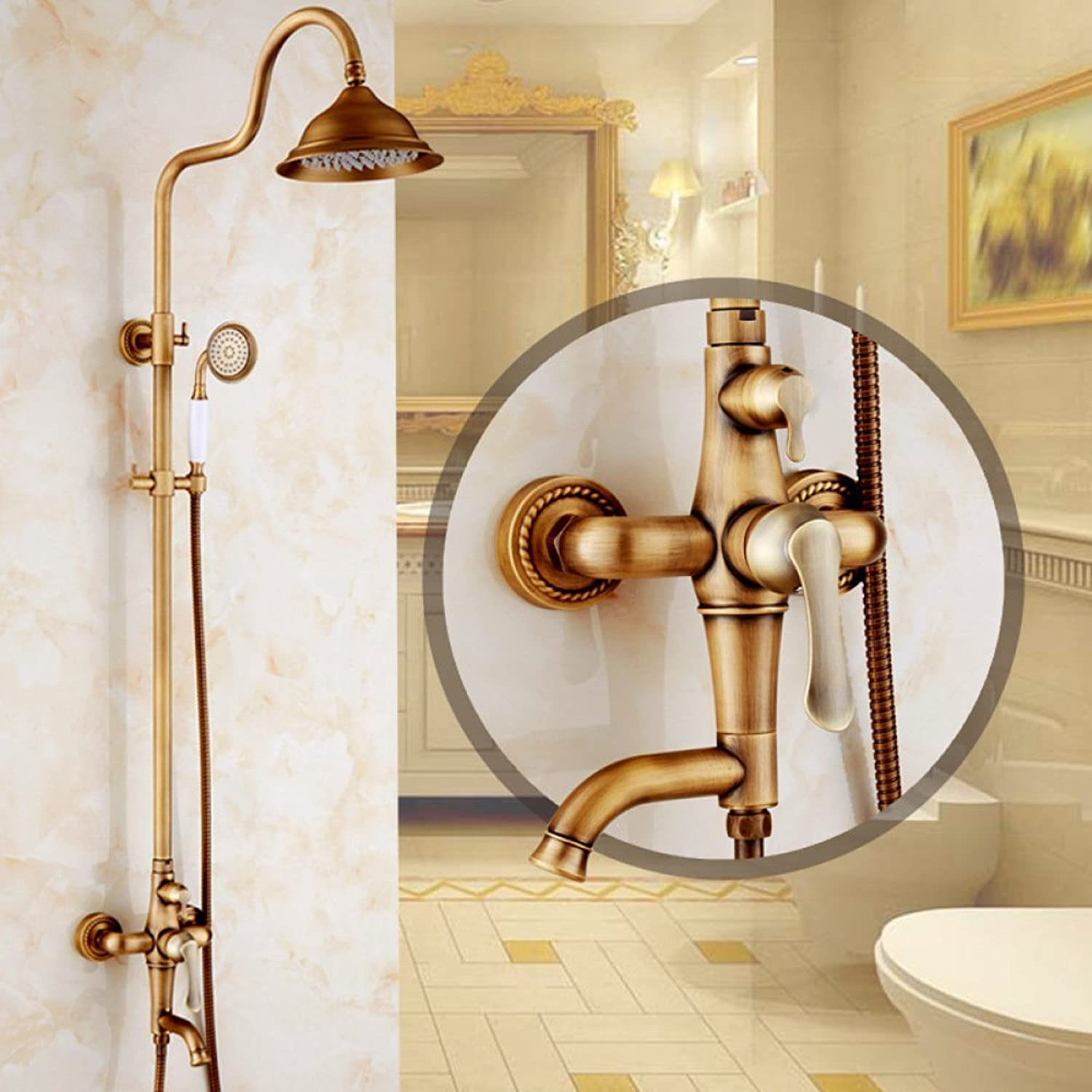 ZHWY all bronze Retro Shower Antique Shower set redatable With lifting Shower Faucet
