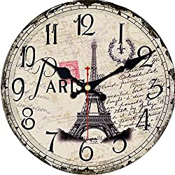 MEISTAR Small Wooden Wall Clock,6 Inch Kids Room Decoration Retro French Country Style Wall Clocks,Eiffel Tower Design Children Room Quiet Wall Clock