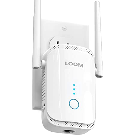 loom WiFi Extender Signal Booster up to 2640sq.ft- newest generation, 2021 release Wireless Internet Repeater, Long Range Amplifier with Ethernet Port, Access Point, 1-Tap Setup, Support Alexa, 2.4Ghz